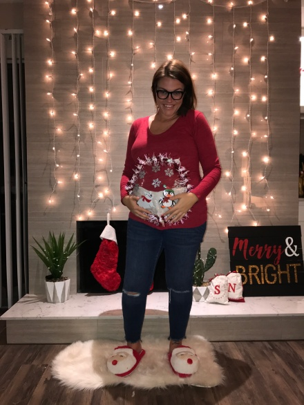 there are a ton of round themed holiday items to pick from when faced with making a maternity ugly sweater snowman wreath ornament snow globe - Maternity Christmas Sweater